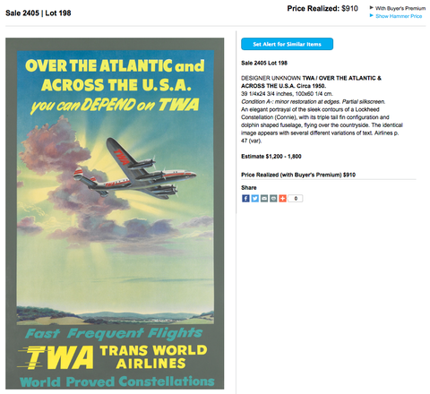 TWA - Over the Atlantic - Original Vintage Airline Poster