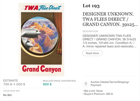 TWA - Grand Canyon - Original Vintage Airline Poster