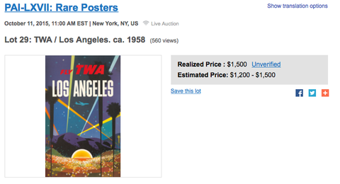 TWA - Los Angeles - David Klein - Original Vintage Poster