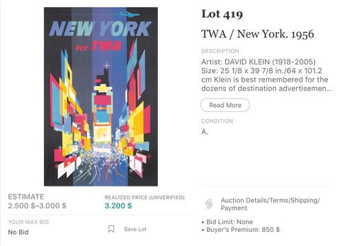 TWA - New York (Jet Version) - David Klein - Original Vintage Airline Poster