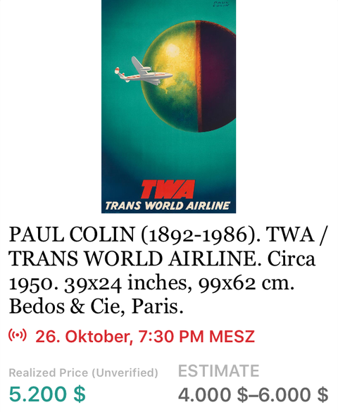 TWA - Paul Colin - Original Vintage Airline Poster