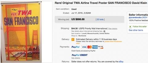 TWA - San Francisco (Jet Version) - David Klein - Original Vintage Airline Poster