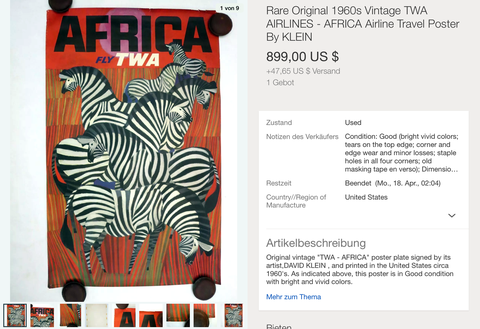 Africa - Fly TWA - David Klein - Original Vintage Airline Poster