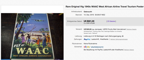 WAAC - West African Airways Corporation - Original Vintage Airline Poster