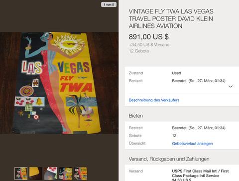 TWA - Las Vegas - David Klein - Original Vintage Airline Poster