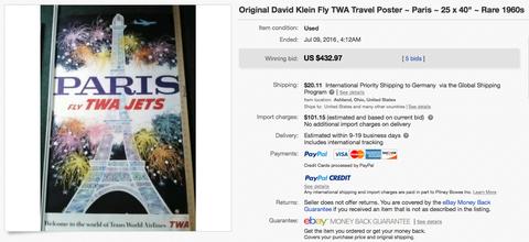TWA - Paris (with Claim) - David Klein - Original Vintage Airline Poster