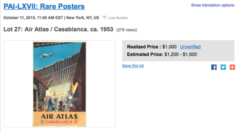 Air Atlas - Casablanca - Renluc - Original Vintage Poster
