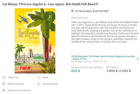 TWA - Los Angeles - Original Vintage Travel Airline Poster - Bob Smith