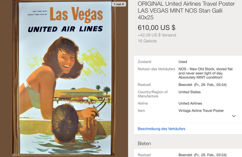 United Air Lines - Las Vegas - Stan Galli - Original Vintage Airline Poster