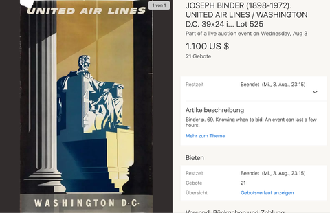 United Air Lines - Washington D.C. - Joseph Binder - Original Vintage Airline Poster 1950s