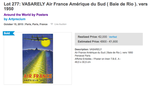 Air France - Amerique du Sud - Vasarely - Original Vintage Poster - Affiche Ancienne