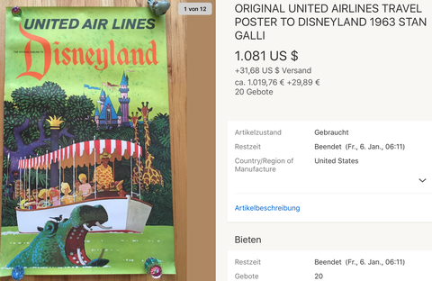 United Air Lines - Disneyland - Original Vintage Airline Poster by Stan Galli