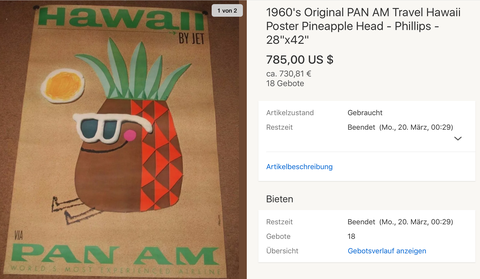 PAN AM - Hawaii - Original Vintage Airline Poster