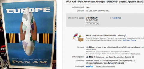 Pan Am - Europe - Original vintage airline poster by bobri