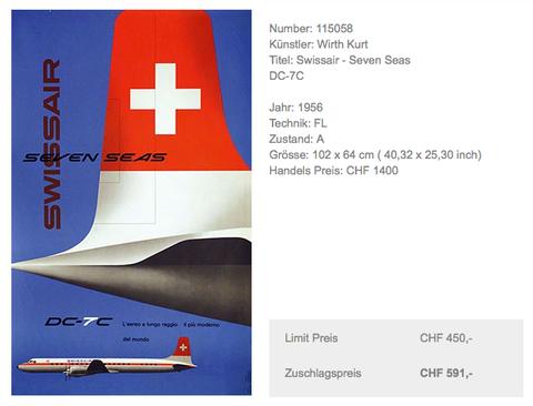 Swissair - Sevens Seas DC7C - Kurt Wirth - Original Vintage Poster