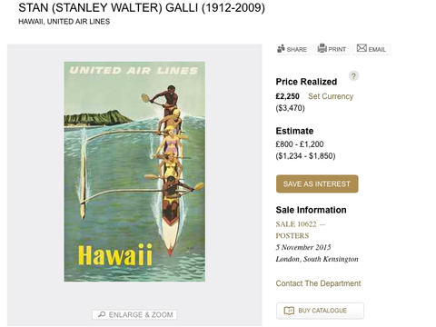 United Air Lines - Hawaii - Stan Galli - Original Vintage Poster