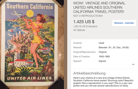 United Air Lines - Southern California - Feher - Original Vintage Airline Poster