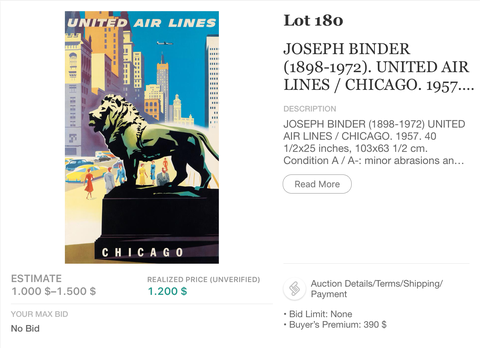 United Air Lines - Chicago - Joseph Binder - Original Vintage Airline Poster