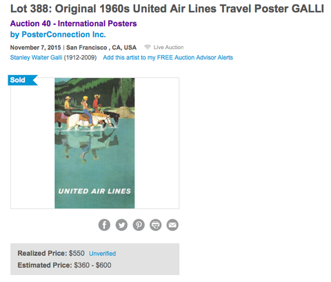 United Air Lines - Stan Galli - Original Vintage Poster