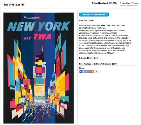 TWA - New York - David Klein - Original Vintage Travel Poster
