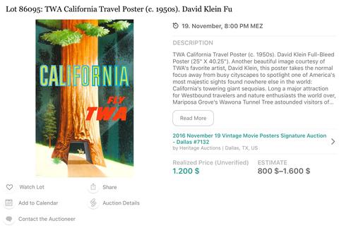 TWA - California (Red Wood)- Original Vintage Travel Airline Poster - David Klein