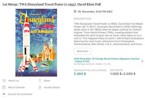 TWA - Disneyland Los Angeles- Original Vintage Travel Airline Poster - David Klein