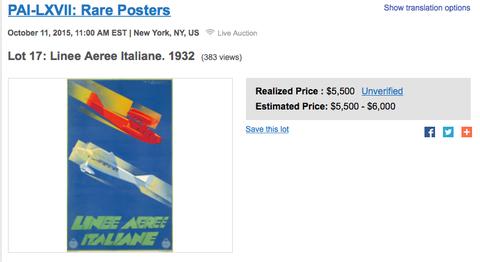Linee Aeree Italine - Original Vintage Airline Poster