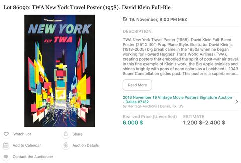 TWA - New York (Super Constellation) - Original Vintage Travel Airline Poster - David Klein