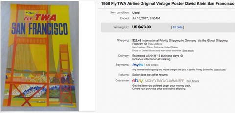 TWA - San Francisco - David Klein - Original Vintage Airline Poster