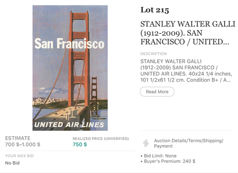 United Air Lines - San Francisco - Stan Galli - Original Vintage Airline Poster 1960s