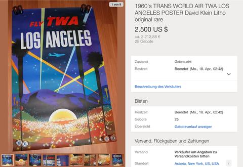 Fly TWA - Los Angeles - David Klein - Original Vintage Airline Poster