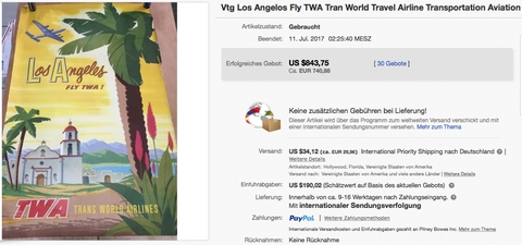 TWA - Los Angeles - Original Vintage Airline Poster by Bob Smith