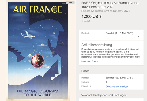 Air France - The magic doorway to the world - Badia Vilato - Original Vintage Airline Poster