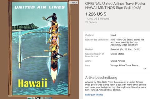 United Air Lines - Hawaii - Stan Galli - Original Vintage Airline Poster