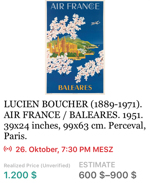 Air France - Baleares - Boucher - Original Vintage Airline Poster