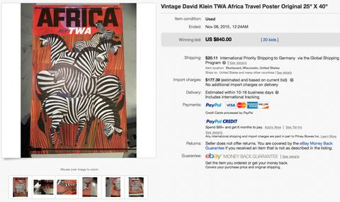 TWA - Africa - David Klein - Original Vintage Airline Poster