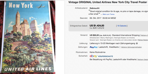 United Air Lines - New York - Original vintage airline poster attributed to Joseph Feher