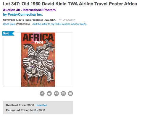 TWA - Africa - Zebras - David Klein - Original Vintage Poster