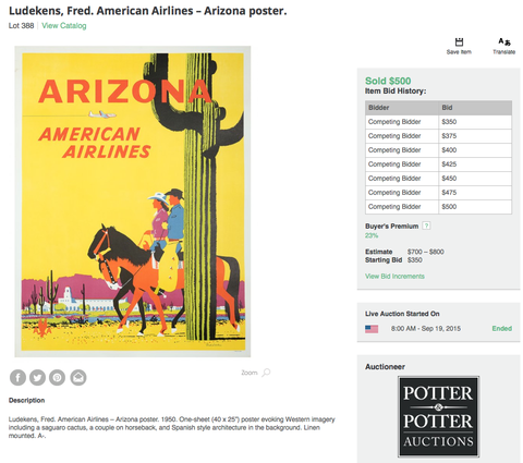 American Airlines - Arizona - Fred Ludekens - Original Vintage Poster