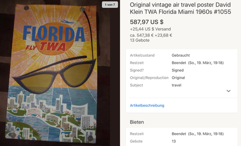 TWA - Florida - Original Vintage Airline Poster by David Klein