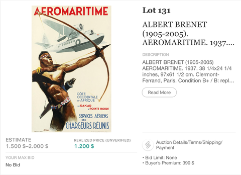 Aeromaritime - Albert Brenet - Original Vintage Airline Poster