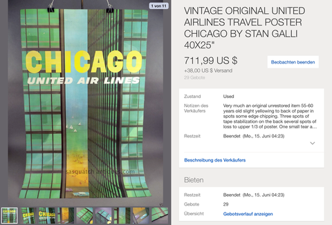 United Air Lines - Chicago - Stan Galli - Original Vintage Poster