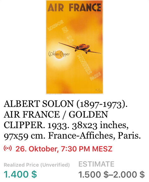Air France - Golden Clipper - Albert Solon - Original Vintage Airline Poster