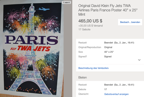 TWA - Paris - David Klein - Original Vintage Airline Poster