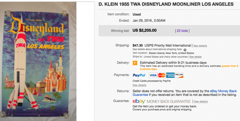 TWA - Disneyland Los Angeles - David Klein - Original Vintage Airline Poster