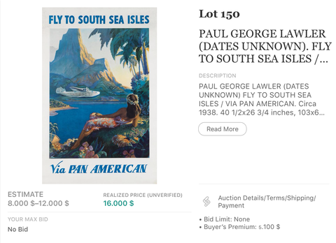 Pan American - South Sea Isles - Paul George Lawler - Original Vintage Airline Poster 1938