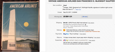American Airlines - San Francisco - Original vintage airline poster by McKnight Kauffer