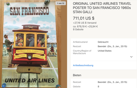 United Air Lines - San Francisco - Stan Galli - Original Vintage Airline Poster