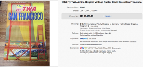 TWA - San Francisco - David Klein - Vintage Airline Travel Poster