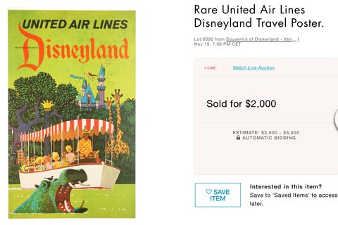 United Air Lines - Disneyland - Original Vintage Travel Poster - Stan Galli